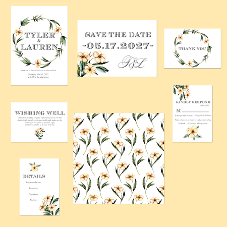 birthday party: Template cards set with watercolor pink flowers illustrations; Wedding design for invitation, Save the date card, RSVP, Thank you card, Wishing Well card, for anniversary day