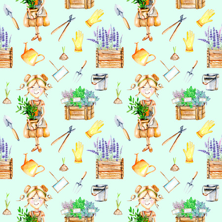 Seamless Pattern With Cute Gardener Girl And Garden Tools Illustrations,  Hand Painted On A Blue