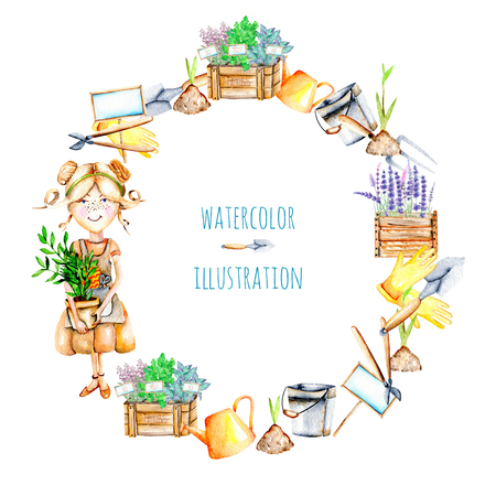Wreath With Watercolor Cute Gardener Girl And Garden Tools Illustrations,..  Stock Photo, Picture And Royalty Free Image. Image 81313972.
