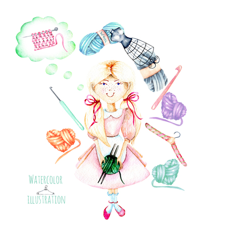 Cute watercolor Girl-needlewoman and knitting elements illustration: yarn, knitting needles and crochet hooks, hand painted on a white background Stock Photo