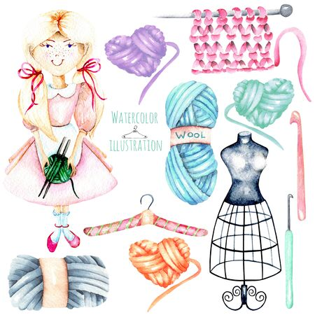 favorite: Set of watercolor cute girl-needlewoman and knitting elements: yarn, knitting needles and crochet hooks, hand painted isolated on a white background