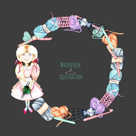 화 환 수채화 귀여운 소녀 -indexwoman와 뜨개질 요소 : 원사, 뜨개질 바늘, 크로 셰 뜨개질 후크, 손을 격리 어두운 배경에 고립 된