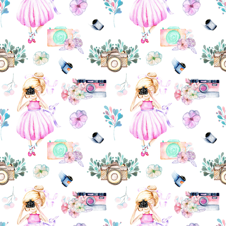 Seamless pattern with watercolor Girl-photographer, retro cameras and floral elements, hand-painted isolated on a white background 스톡 콘텐츠