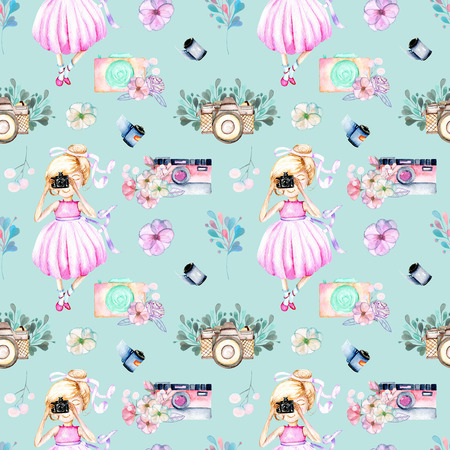 Seamless pattern with watercolor Girl-photographer, retro cameras and floral elements, hand-painted isolated on a blue background