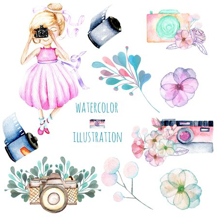 Set of watercolor Girl-photographer, retro cameras and floral elements, hand-painted isolated on white background