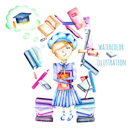 final thoughts: Illustration of watercolor smart schoolgirl, books and stationery objects, hand painted isolated on a white background Stock Photo