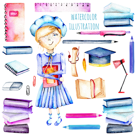 favorite: Set of watercolor smart schoolgirl, books and stationery objects, hand painted isolated on a white background Stock Photo