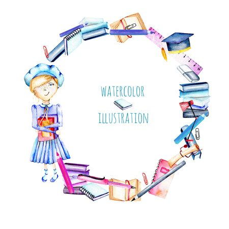 Wreath with watercolor smart schoolgirl, books and stationery objects, hand painted isolated on a white background