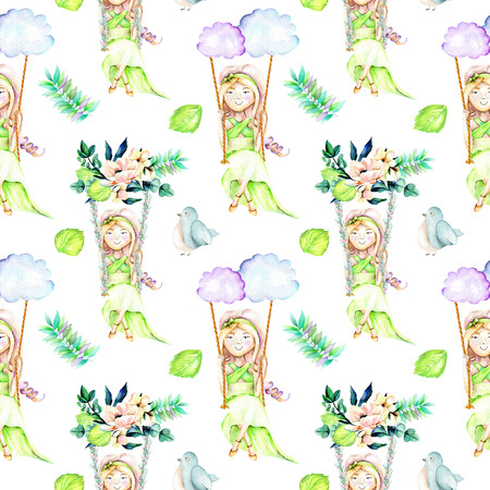 Seamless pattern with watercolor Girl swinging on a swing from clouds and flower bouquets, birds and leaves, hand painted isolated on a white background