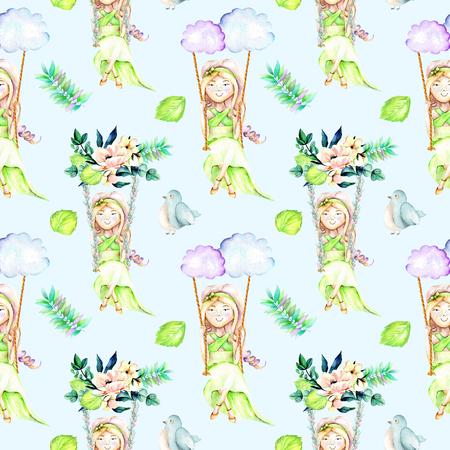 Seamless pattern with watercolor Girl swinging on a swing from clouds and flower bouquets, birds and leaves, hand painted isolated on a blue background Stock Photo