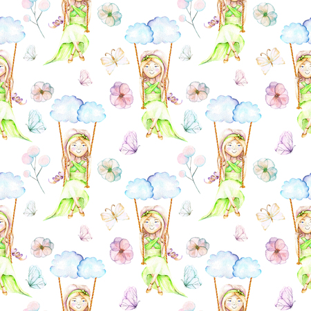 Seamless pattern with watercolor Girl swinging on a swing from clouds, butterflies and flowers, hand painted isolated on a white background 스톡 콘텐츠