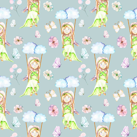 Seamless pattern with watercolor Girl swinging on a swing from clouds, butterflies and flowers, hand painted isolated on a blue background