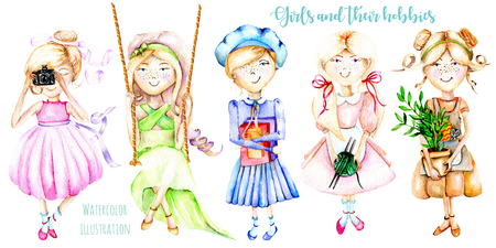 A set of watercolor cartoon characters of girls illustrations that have a favorite pastime, hand painted isolated on a white background Stok Fotoğraf