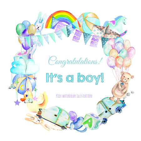Guirlande, bordure de cadre de l'aquarelle de douche pour bébé (jouets, ballons à air, arc-en-ciel, tétons, voitures et autres), peint à la main sur fond blanc Banque d'images - 81283151