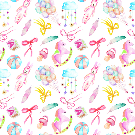 Seamless pattern with baby girl shower watercolor elements (toys, air balloons, rainbow, nipple, feathers and other), hand painted isolated on a white background