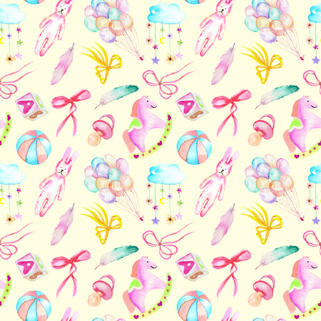 Seamless pattern with baby girl shower watercolor elements (toys, air balloons, rainbow, nipple, feathers and other), hand painted isolated on a tender yellow background