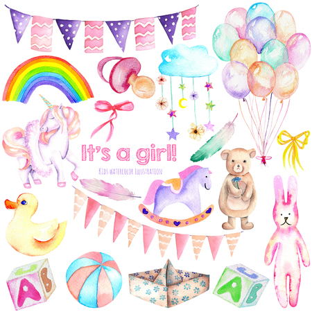 Baby girl shower watercolor elements set (toys, unicorn, air balloons, rainbow, nipple, feathers and other), hand painted isolated on a white background, for DIY artworks, baby shower Imagens
