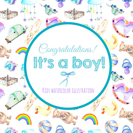 soothers: Card template, frame border on a baby boy shower watercolor elements background (toys, cars, rainbow, nipple, paper boat and other) Stock Photo