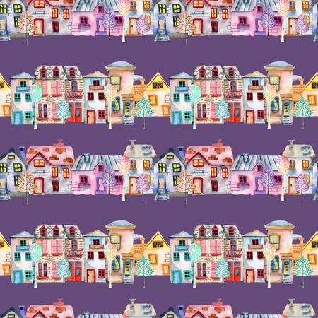 Motif sans couture avec des maisons anglaises mignonnes d'aquarelle de dessin animé dans une rangée et des arbres, peints à la main sur un fond violet