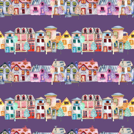 Seamless pattern with cute cartoon watercolor english houses in a row and trees, hand painted on a purple background Archivio Fotografico