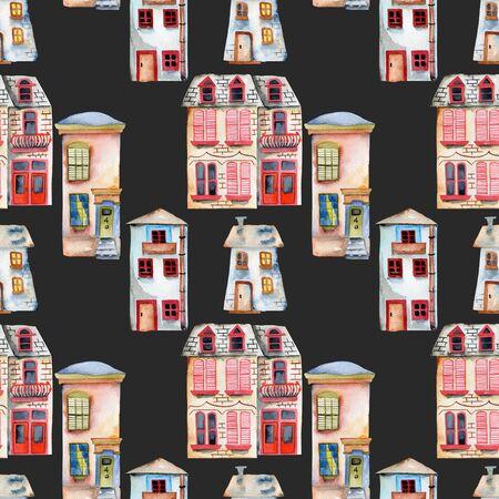 Patrón sin fisuras con acuarela Inglés casas, pintado a mano aislado en un fondo oscuro Foto de archivo