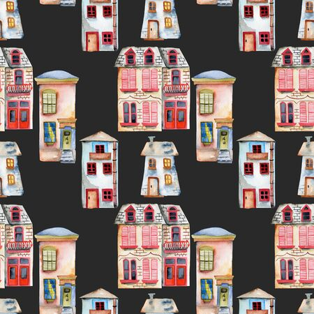Seamless pattern with watercolor english houses, hand painted isolated on a dark background Kho ảnh
