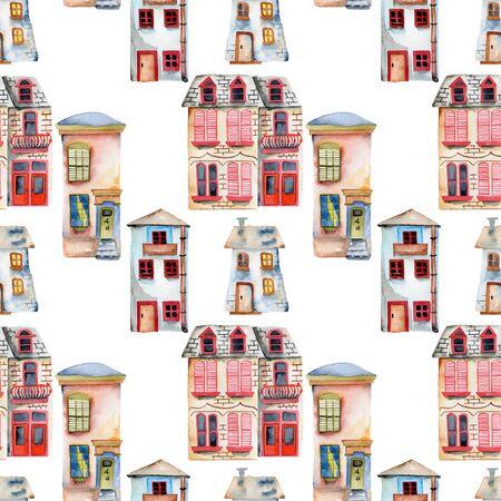 Patrón sin fisuras con acuarela Inglés casas, pintado a mano aislado en un fondo blanco