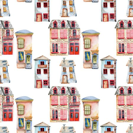 Seamless pattern with watercolor english houses, hand painted isolated on a white background
