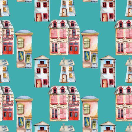 Naadloze patroon met waterverf Engelse huizen, handgeschilderd geïsoleerd op een turkooise achtergrond Stockfoto