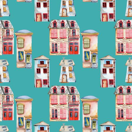 Seamless pattern with watercolor english houses, hand painted isolated on a turquoise background