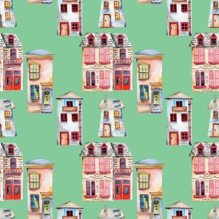 Patrón sin fisuras con acuarela Inglés casas, pintado a mano aislado en un fondo verde