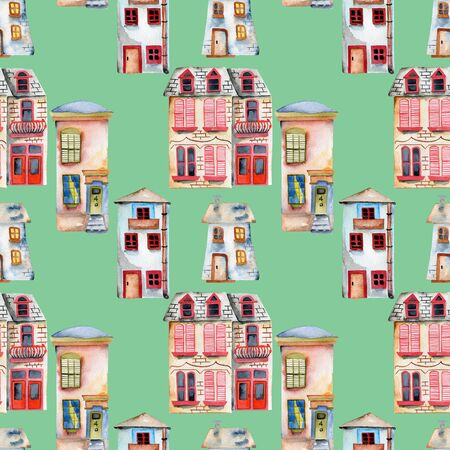 Seamless pattern with watercolor english houses, hand painted isolated on a green background
