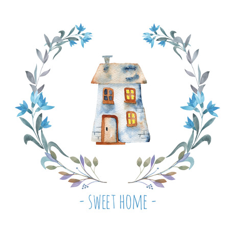 Watercolor cartoon private house inside floral wreath in blue shades, hand painted isolated on a white background
