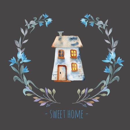 Mavi tonlarında çiçek çelengi içinde suluboya karikatür özel ev, el boyalı karanlık bir arka plan üzerinde izole