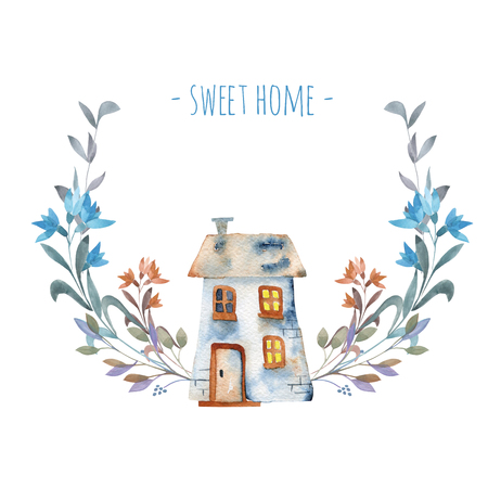 Watercolor cartoon house with floral wreath in blue shades, hand painted isolated on a white background