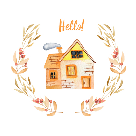 Watercolor cartoon private house inside floral wreath in autumn shades, hand painted isolated on a white background