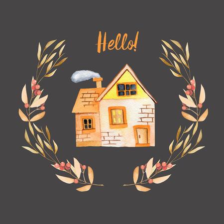 Aguarela cartoon casa particular dentro de grinalda floral em tons de outono, pintado à mão isolado em um fundo escuro