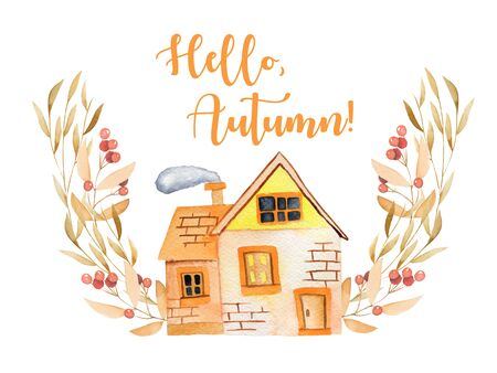 windows and doors: Watercolor cartoon house with floral wreath in autumn shades, hand painted isolated on a white background