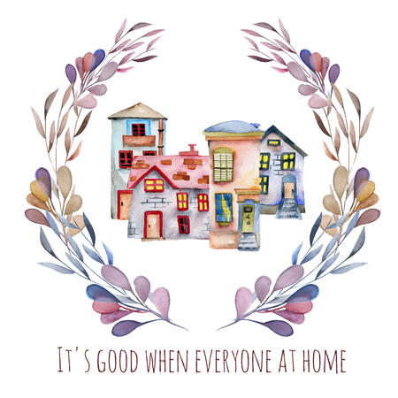 Watercolor english houses inside floral wreath in purple shades, hand painted isolated on a white background