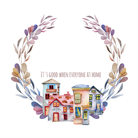 Floral wreath with watercolor english cartoon houses in purple shades, hand painted isolated on a white background