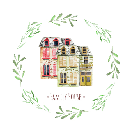 Watercolor english houses inside floral wreath, with an inscription  Family House , hand painted isolated on a white background