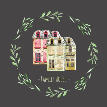 Casas de aquarela inglesas dentro de uma grinalda floral, com uma inscrição '' Family House '', pintada à mão isolada em um fundo escuro