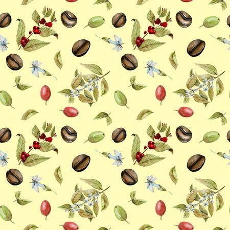 Бесшовные шаблон с акварель цветущие ветви кофе, красные и зеленые кофейные зерна, ручная роспись, изолированных на желтом фоне Фото со стока