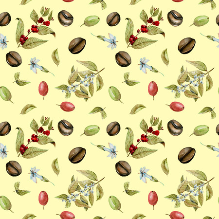Seamless pattern with watercolor flowering branches of coffee, red and green coffee beans, hand painted isolated on a yellow background