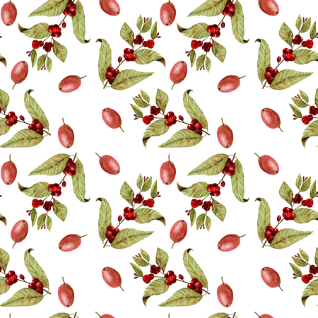 Seamless pattern with watercolor ripening coffee beans on the branches and red coffee beans, hand painted isolated on a white background