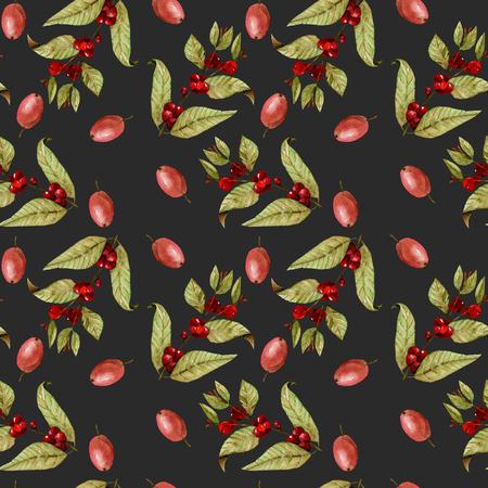 Seamless patrón con acuarela maduración granos de café en las ramas y granos de café rojo, pintado a mano aislado en un fondo oscuro Foto de archivo