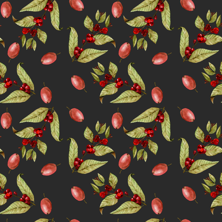 Seamless pattern with watercolor ripening coffee beans on the branches and red coffee beans, hand painted isolated on a dark background