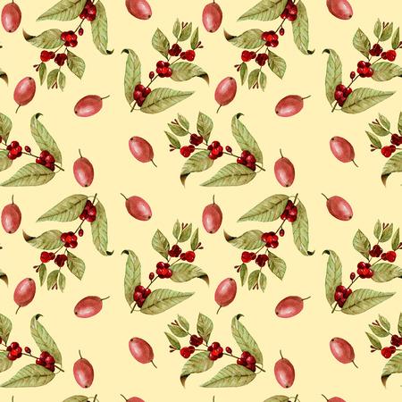Бесшовные шаблон с акварель созревания кофейных зерен на ветвях и красных кофейных зерен, ручная роспись, изолированных на желтом фоне