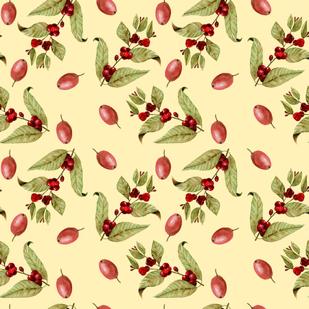 Seamless pattern with watercolor ripening coffee beans on the branches and red coffee beans, hand painted isolated on a yellow background