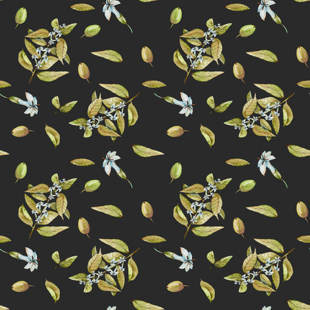 tea hot drink: Seamless pattern with watercolor flowering branches of coffee and green coffee beans, hand painted isolated on a dark background